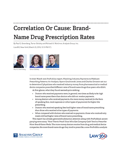 Correlation Or Cause: Brand-Name Drug Prescription Rates