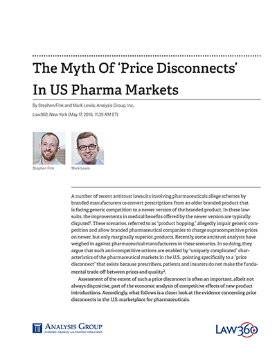 The Myth Of 'Price Disconnects' In US Pharma Markets