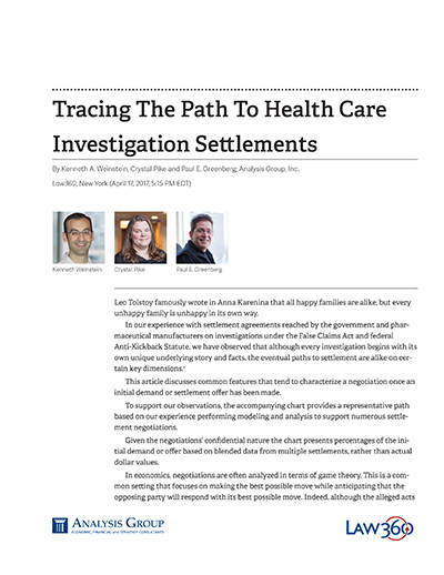 Tracing The Path To Health Care Investigation Settlements